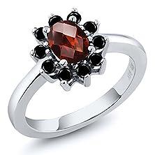 buy 1.13 Ct Oval Checkerboard Red Garnet Black Diamond 925 Sterling Silver Ring