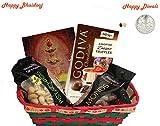 Diwali / Bhaidooj Gift Hamper - Godiva Dessert Truffles, Almonds, Pistachio in a Beautiful Basket