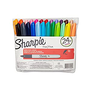 Sharpie 75846 Fine Point Permanent Marker, Assorted Colors, 24-Pack