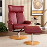 Adjustable Bonded Leather Recliner and Ottoman , Office Chair - Brick Red