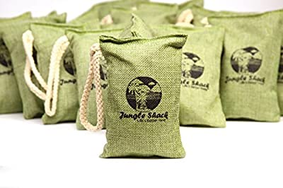 Activated Charcoal Odor Eliminator Bag- Huge 50 Pack! With Beautiful Box!- Best Natural Air Freshener and Pet Odor Removal- Keep A Fresh Healthy Home with Jungle Shack Bamboo Charcoal Bags- Non Toxic