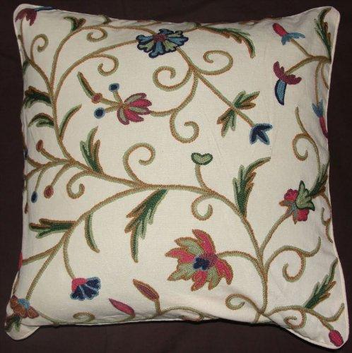 Crewel Pillow Tech Cream Cotton Duck (20X20)