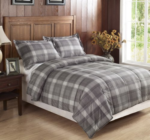 Chezmoi collection 2 piece light grey plaid flannel feel down alternative comforter set twin for Home design down alternative color king comforter