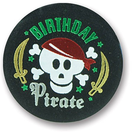 """Birthday Pirate Satin Button 2"""" Party Accessory"""