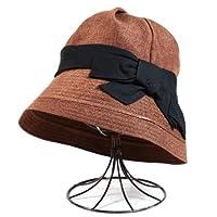 帽子 レディース UV加工ナチュラルリボンハット(ポリエステル100%/サイズ調整用紐付き/amazonおしゃれたためる・折り畳み 日よけカット ファッション通販/頭囲:約56〜57.5cm/UV加工紫外線かわいい灰色婦人...