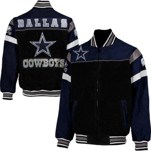 reputable site a05a8 29a8d NFL Dallas Cowboys Knockout Full Zip Suede Jacket - Black ...