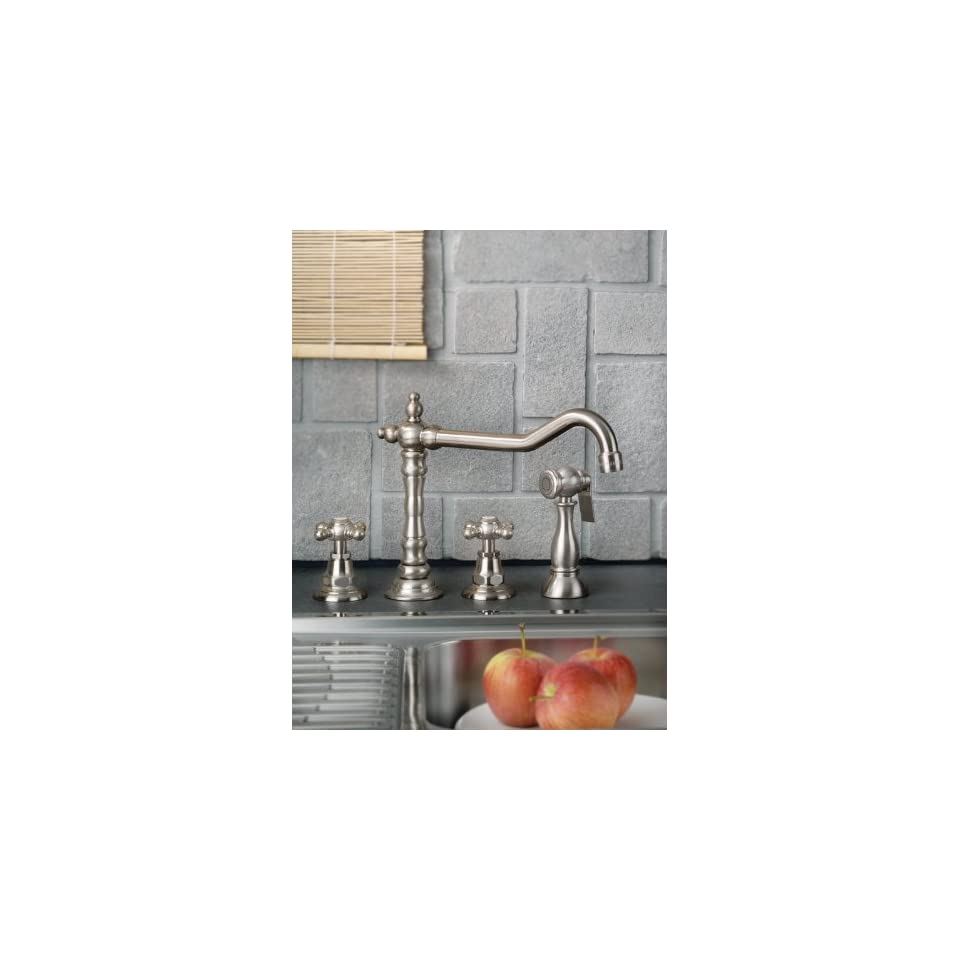 Mico 7760 C4 CP Victorian Polished Chrome Two Handle Kitchen Faucet with Sprayer Cross