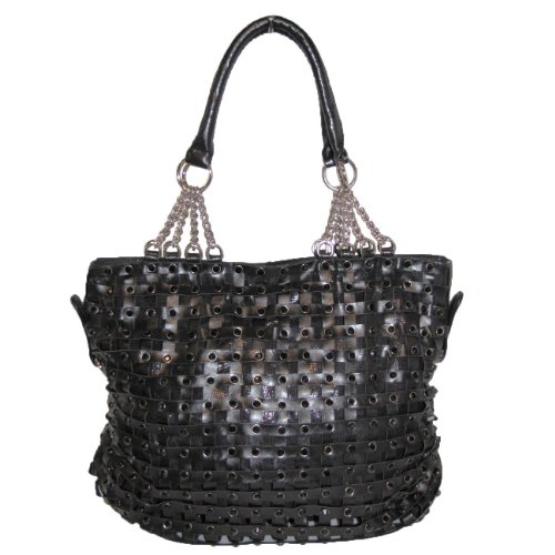Blue Elegance Crystal and Chain Woven Handbag (Black) Blue Elegance
