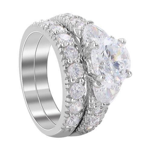 Sterling Silver 8mm Round Shaped Clear Cubic Zirconia 5mm Band Engagement Ring Size 7