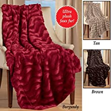 Plush Faux Fur Throw Burgundy
