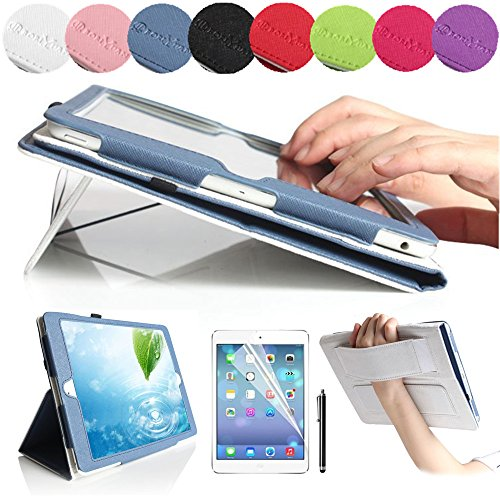 Boriyuan Stylish Ipad 5 Wallet Case, Ultra Slim Lightweight Portable Protective Flip Folio Folding Pu Leather Case Carrying Cover For Apple Ipad Air 5 5Th Generation Tablet, With Elastic Hand Strap And Credit Id Card Slot Stylus Holder Multi-Angle Stand F