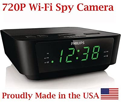 720p HD WIFI Alarm Clock Radio Spy Camera Wireless IP P2P Covert Hidden Nanny Camera Spy Gadget from AES Spy Cameras