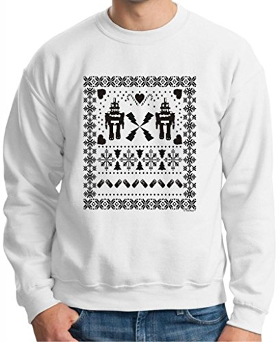 Ugly Christmas Sweater Robots Crewneck Sweatshirt Medium White