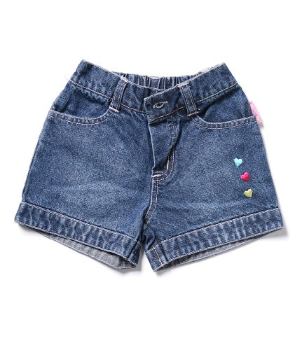 Sweet and Soft Baby Blue Jeans Shorts-Hearts, 6 months