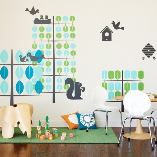 Teal & Green Trees Wall Stickers