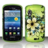 Green Flower Design Snap On Protector Hard Case for Samsung Stratosphere (SCH-i405) + 4.5 inches Screen/Lens Cleaning Cloth