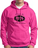 Made in 1974 40 Years of Awesome Birthday Hoodie Sweatshirt Large Heliconia