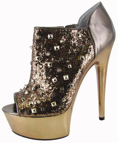 Betsey Johnson Studdlee Peep Toe Studded Booties Womens Shoes (Bronze, Gold / Size 7) front-870309
