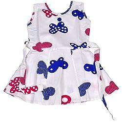 Be BeBo Girl's cotton Regular Fit Dress (560, White, 18-24 months)