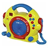 vevendo – bunter Kinder CD Player mit Karaoke Funktion und Mikrofon, betteriebetrieben – Clatronic CDK676 Sing Along CD-Player inkl. 2 Mikrophone