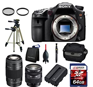 Sony Alpha SLT-A77VQ W/Sony SAL 16-50 f/2.8 + Sony 75-300mm + Bag + Battery + Tripod + 64GB (10) Kit