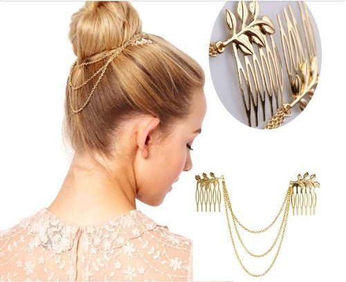 Fashion BOHO Golden Fringe Tassel Metal Chain Layer Leaf Leaves Hair 2 Tuck Comb Wrap Cuff Clip Pin Hairpin Hairband HeadPiece Head Band Headband Wedding Statement Hair Ornament Decoration Women's Party Accessories Punk GIFT Minimalist Headwear Jewelry (g