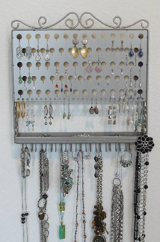 (AAV-Satin Nickel) Angelynn's Vintage Styled Accessory Angel - Pierced Earring Holder & Jewelry Organizer - Hanging Necklace Storage Rack - Wall Mount Earring Tree Display Stand