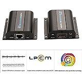 AGPtek(EU prise) 60 mètres HDMI Extender sur Ethernet Cat5e/6 câble Ethernet avec IR Full HD 1080p et 3D Emetteur+Récepteur pour TV DVD Blue Ray PS3 XBOX - Support 20 ~ 60KHz grande fréquence télécommande IR