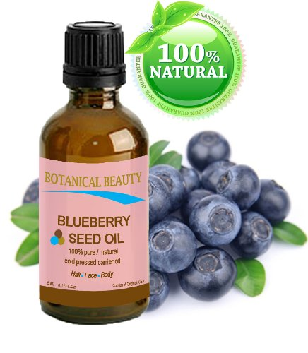 "Blueberry Seed Oil. 100% Pure / Natural / Undiluted / Virgin / Unrefined / Cold Pressed Carrier Oil. 0.17 Fl.Oz.- 5 Ml. For Skin, Hair, Lip And Nail Care. ""It Is One Of Nature'S Most Potent Antioxidants. Rich In Vitamin A, B Complex, C, E, And Omega 3"""