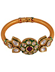 Gehna Mart Ethnic Openebale Kundan Polki - Meena Rich Bracelet In Gold Finish 32.4 Grams