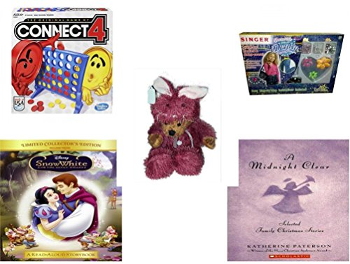 [Girl's Gift Bundle - Ages 6-12 [5 Piece] - Connect 4 Game - Singer Brand Decorate Your Denim Party Pack Toy - Teddy Bear Plush In Purple Mouse Costume 12