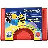 PELIKAN - Crayon de cire épais 665/8, rond, résistant à l'eau,sans gaine, avec de la cire d'abeille contenu: 8 crayons dans un étui en plastique, assorti dans les