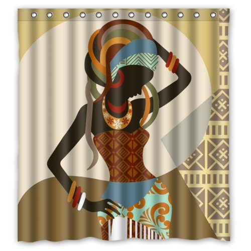 African Woman Waterproof Shower Curtain