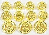 GOLD Premium METAL ~NAVY NAUTICA ANCHOR~ METAL BLAZER BUTTON SET ~ 11-Piece Set of Shank Style Fashion Buttons For Single Breasted Blazers, Sport Coats, Jackets & Uniforms ~ METALBLAZERBUTTONS.COM
