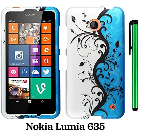 Nokia Lumia 635 (Us Carrier: T-Mobile, Metropcs, And At&T) Premium Pretty Design Protector Cover Case + 1 Of New Assorted Color Metal Stylus Touch Screen Pen (Blue Silver Black Vine Swirl)