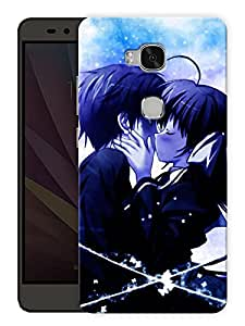 "Humor Gang Emo Couple Kissing Cartoon Printed Designer Mobile Back Cover For ""Huawei Honor 5X"" (3D, Matte, Premium Quality Snap On Case)"