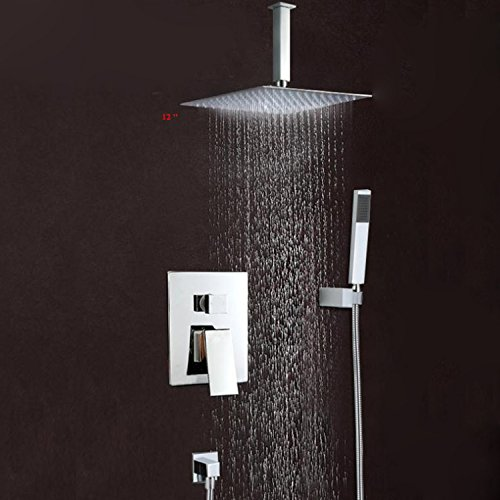 LightInTheBox® Brass Ceiling Mounted Waterfall Rain Shower Faucet Set 12