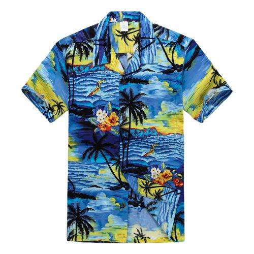 3873c34f Palm Wave Men's Hawaiian Shirt Aloha Shirt S Sunset Blue | Hawaiian ...