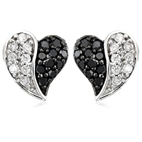 Sterling Silver 1/2 CTTW Black and White Diamond Heart Earrings