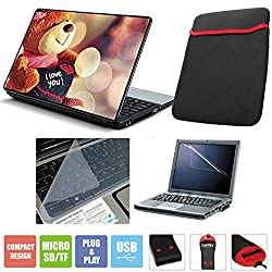 FineArts 3 in 1 Laptop Skin Pack 15.6 inch - Lovable Teddy Bear With Laptop Sleeve, Card Reader, Screen Guard and Keyboad Protector