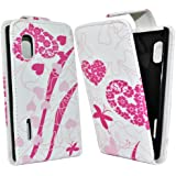 Accessory Master Schmetterling Fleurs Elegantes Leder Tasche für LG optimus l5 E610 rosa