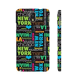 Enthopia Designer Hardshell Case New York To Las Vegas Back Cover for Samsung Galaxy Note 3