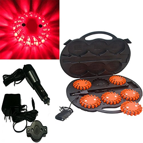 6 Pack Red Rechargable Waterproof Led Magnet Safety Flare With 9 Operating Modes + Free Chargers And Travel Case