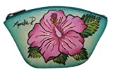 Pink Hibiscus Hand Painted Leather Coin Purse
