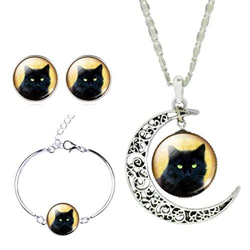 tempo-di-donne-lucido-nero-gatto-crescent-moon-ciondolo-collare-collana-gioiello-orecchini-bracciale