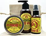 Medicine Man's Beard and Mustache Care Gift Set: Anti- Itch Beard Wash, Beard Oil and Beard/ Mustache Pomade by OneDTQ