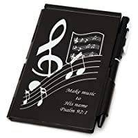 Make Music, Psalm 92:1; Metal Note Case and Pen Set, Black