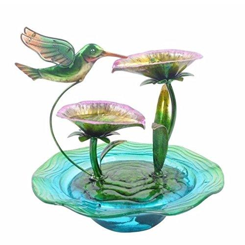 Hand Painted Hummingbird Glass Water Fountain