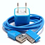 Sky Blue 3ft USB Charging / Data Sync Cable + USB AC Wall Adapter fits iPhone 4s iPhone 4 iPhone 3GS iPhone 3G