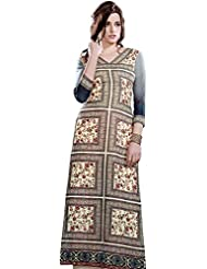 Exotic India Long Kurti With Printed Flowers And Embroidered Patch Border